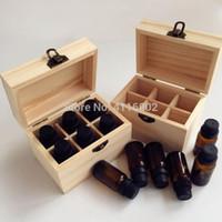 bolsas de botellas de vino de plástico al por mayor-20 unids 4/6/8 Ranuras de Botellas de Aceite Esencial de Madera Caja de Almacenamiento de Aromaterapia Hecho A Mano Botella Organizador Contenedor