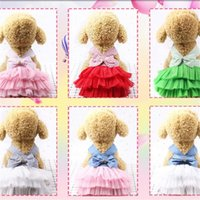 ingrosso strisce di vestiti del cane-Vestiti per cani garza Petino Canotta Stripe Lovely Bow Principessa Cake Dress Moda Mulit Color Summer Dog Apparel 8 5gcE1