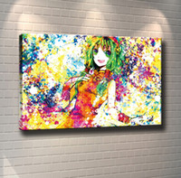 Wholesale paint art nude girls online - Unframed Framed Anime Girl Colorful Home Decor HD Printed Modern Art Painting on Canvas x32