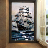 Wholesale oil pictures silk resale online - European oil painting porch modern minimalist TV background wallpaper large mural sailing boat lifelike picture wallpaper