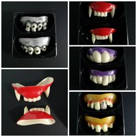 Wholesale vampire decorations resale online - Simulation Teeth Plastics Amusing Vampire Braces Horrible Corpse Tooth Cover For Party Perform Halloween Decoration cy E1