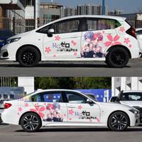 etiqueta de la puerta del vehículo al por mayor-Japón Anime Vinyl Car Sticker Re: Zero Ram Rem Calcomanías de puertas de dibujos animados Ralliart Rally Stickers en accesorios para vehículos
