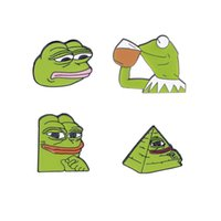 Wholesale enamel frog for sale - Group buy 4Pcs Set Frog Memes Enamel Pins Shoot Pyramid Thinking Drinking Funny Animal Brooches Badge for Friends Best Gift Styles