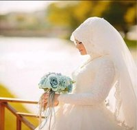 Wholesale beads hijab resale online - Arabic Muslim Bridal Dress with Long Trail Luxury Full Sleeves high neck Woman lace Appliqued Hijab Wedding Dresses Robe De Mariage
