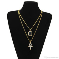 Wholesale key chain s for sale - Group buy Men S Egyptian Ankh Key Of Life Necklace Set Bling Iced Out Cross Mini Gemstone Pendant Gold Silver Chain For Women Hip Hop Jewelry