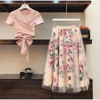 kiz zarif elbise toptan satış-Çiçek Baskı Kadın T Gömlek + Örgü Etek Takım Elbise Ilmek Vintage Iki Parçalı Setleri Zarif Kadın Etek 2019 Yaz Kız Tees Tops Kadın