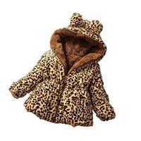 jaqueta de leopardo menina venda por atacado-Brasão crianças Menina Ears bebé do inverno com capuz Outwear Algodão leopardo espessamento Cordeiro Cashmere agasalho Brasão Outfits M438