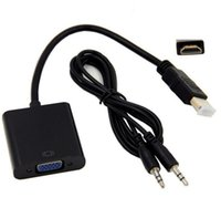Wholesale laptop tablet hdmi for sale - Group buy HDMI to VGA Adapter Male To Famale Converter Adapter P Digital to Analog Video Audio For PC Laptop Tablet