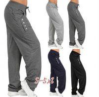 Wholesale loose yoga pants online - Women Casual Loose Harem Pants Button Ladies Trousers Harem Comfy Yoga Pants Plus Over size S XL bottom AAA1761