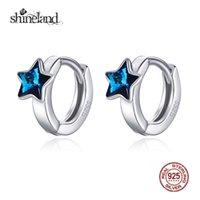 ingrosso orecchino del cerchio azzurro-Shineland Blue Stars Round Circle Orecchini a cerchio 925 gioielli in argento sterling per le donne ragazze orecchini dichiarazione estate regali caldi Y18110503