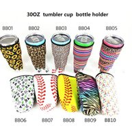 Wholesale used baseballs resale online - baseball softball Water Bottle Cover for oz cup use Neoprene Insulated Sleeve bag Case Pouch KKA7862