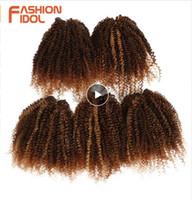 33 613 cabello al por mayor-Armadura del pelo sintético Afro Kinky Paquetes de pelo rizado Negro Rubio 8 pulgadas 250 g 5 Unidades Extensiones de Cabello Envío Gratis