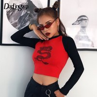 mulheres do algodão t camisas chinesas venda por atacado-Darlingaga Casual Dragon Printed Autumn T-shirt Women Crop Top Tee Cotton Chinese Style Basic Tshirt Contrast Color Long Sleeve