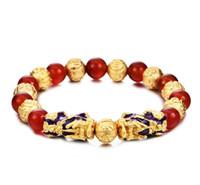 ingrosso oro di buddha-Imitazione oro Feng Shui doppio Pixiu braccialetto naturale rosso agata Buddha Bead Bracciale gioielli animali mascotte