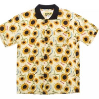 цветок шорты мужчины оптовых-GOLF WANG flower boy Подсолнух рубашка с короткими рукавами Мужчины и Женщины Свободные Дышащие HFLYTX010