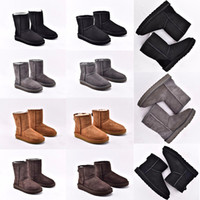 Wholesale sliding button resale online - with box australia wgg Womens uggs ugg Classic tall half Boots Women shoes boots boot Snow Winter black slides ankle leath507a