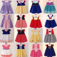 karikaturkostümmädchen kleiden an großhandel-Baby Kleid Belle Mädchen Dresse Prinzessin Sommer Cartoon Casual Party Cosplay Kostüm Mario Kleid 33 DESIGN KKA6853