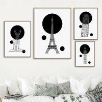 büyük tuval boyama duvar dekor toptan satış-Soyut Çizgi Geyik Paris Kulesi Big Ben Wall Art Tuval Boyama Nordic Posterler Ve Baskılar Duvar Resmi Bebek Çocuk Odası Ev dekor
