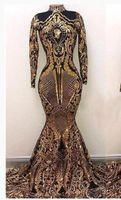 kızıl sütun elbisesi toptan satış-Altın Payetli Mermaid Gelinlik Modelleri 2019 Çarpıcı Yüksek Boyun Sheer Uzun Kollu Müslüman Örgün Akşam Parti Kıyafeti Özel Ünlü Pageant Elbise