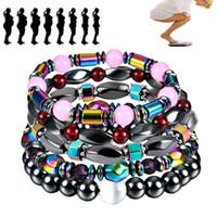 regenbogen-armbänder großhandel-Regenbogen schwarz magnetische Hämatit Armband Perlen Power gesunde magnetische Armband Armband Modeschmuck wird und Sandy Drop Ship 162545