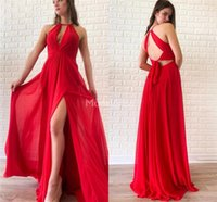 Wholesale gray prom gown for sale - Group buy Sexy High Split Red Prom Dresses Jewel Neck Open Back Chiffon Sweep Train Formal Party Evening Gowns Cheap Special Occasion Dresses Vestidos