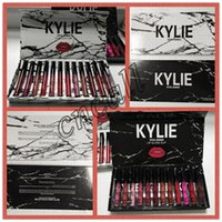 Wholesale collection kylie lipstick for sale - Group buy Kylie Liquid lipstick lipgloss MATTE VELVET colors collection Makeup lip gloss marble lipgloss Black white box