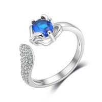ingrosso i monili degli anelli di volpe-Fox Opening Rings Design For Girl Party Jewelry Sexy Donna Bijoux ridimensionabile imitazione 925 Anello in argento sterling con anello zircone