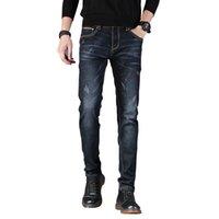 schwarze skinny jeans mode männer großhandel-2018 neue herren marke jeans mode männer casual slim fit gerade hohe stretch füße dünne jeans männer schwarz heißer verkauf männliche hose