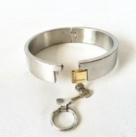 Wholesale neck lock sex resale online - 3CM Wide Handmade Unisex Stainless Steel Heavy Slave Collar Neck Ring with Brass Locks Adult Bondage sex toys for Men and Women