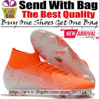 calcetines de fútbol negro naranja al por mayor-Nuevo Original Mercurial Superfly VI FG ACC Zapatos de fútbol Entrenadores para hombre Botas de fútbol Calcetines Altos top de fútbol Botines Naranja Blanco Negro 6.5-12