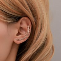 Wholesale metal jewelry pieces for sale - Group buy 1 piece fashion ear clip popular five pointed star retro metal ear hanging personality single star clip jewelry