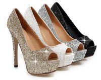 ouro sandálias de salto alto sandálias venda por atacado-Frete Grátis Senhora Linda Nightclub Sapatos de Noite Super High Heels Peep Toe Sandálias Mulher Vestido Sapatos De Casamento De Ouro Vestido De Noiva Sapatos