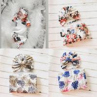 baby wickeltuch großhandel-Blumen Baby Musselin Swaddle Wrap Decke Wraps Decken Kinderzimmer Bettwäsche Frottee Baby Kleinkind gewickelt Tuch mit Hut 14949