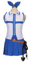 peri kuyruğu lucy kılık toptan satış-Kukucos Anime Fairy Tail Lucy Heartfilia Gömlek + Etek Cosplay Kostüm Yaz Elbise Takım Elbise Güzel Taze Tatlı Elbise hissetmek