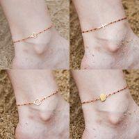 стальные пляжные аксессуары оптовых-Fashion Colorful Stainless Steel Anklet Women's  Gold Pendant Barefoot Sandals Beach Bracelet Foot Jewelry Accessories