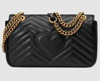 bolsos de mujer negro al por mayor-Diseñador- Cuero clásico negro oro cadena de plata venta caliente 2017 nuevos bolsos de las mujeres bolsos de hombro bolsas de asas del mensajero