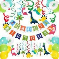 bandeira da decoração do aniversário venda por atacado-O envio gratuito de tema de festa de dinossauro quente definir suprimentos dinossauro bandeiras de aniversário espiral charme dinossauro decoração de balão de látex