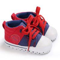 Wholesale mix kids shoes online - good quality Children canvas shoes kids shoes for girl New Fashion Mixed Colors Lace Up Shoes Crib Prewalker Soft Anti slip Shoe