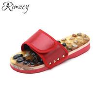 zapatos de los pies de la novedad al por mayor-Rimocy 2019 Nueva novedad Casual Chanclas de playa Zapatos de salud mujer Natural Pebble Stone Masaje de pies Zapatillas Zapatillas de verano