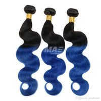 Wholesale remy braiding human hair 24 inches resale online - Two Tone B Blue Ombre virgin human Brazilian Hair Body Wave Black And Blue Ombre Weave Ombre Human Hair Extensions Braiding hair