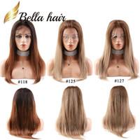 hochwertige perückenkappen großhandel-Bella Hair® Neue Ankunft Farbe # 118 # 125 # 127 Volle Spitzeperücken Gerade Menschenhaar-Geflecht-Haar-Qualität Durchschnittlich Kappe Einstellbar
