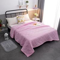 двуспальные кровати оптовых-Twin King Size Размер Сплошной розовый белый Лето Одеяло Покрывало Одеяло Одеяло Покрывало на кровать Лоскутное Домашнее Подходит тонкий покрывало