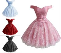 Wholesale corset cap sleeve prom dress for sale - Group buy Romantic Lace Short Graduation Prom dresses Cheap off shoulder With Sleeves Applique Ball Gown Corset Homecoming Party Dress Cheap