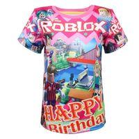 trajes de ação de graças crianças venda por atacado-Anime Roblox Feliz Aniversário Tema Cosplay Fornecido Jogo Crianças Traje Meninos Natal T Shirt Da Menina Tops Dos Desenhos Animados Ação De Graças Camisa Y19051003