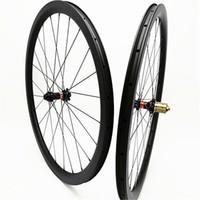 ruedas 3k ud al por mayor-Ruedas de disco de carretera 700c carbono remachador sin cámara 38mm disco de bicicleta juego de ruedas 100x15 142x12 Freno de disco 1580g ruedas de carbono 3k UD