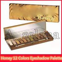 fırçalar makyaj altın toptan satış-Göz Gölge artı Fırça DHL nakliye süren Sıcak Marka Makyaj Paleti Bal Göz Farı 12 Renkler Altın Normal Palet mat su geçirmez Uzun