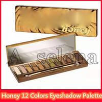 Wholesale neutral eyeshadow palettes resale online - Hot Brand Makeup Palette Honey Eyeshadow Colors Golden Neutrals Palette matte Waterproof Long lasting Eye Shadow plus Brush DHL shipping