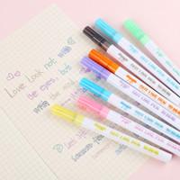 ingrosso evidenziatore fluorescente principale-8 colori a doppia linea di penne penna fluorescente Highlighter Linea Doppia Doppia pennarello disegno della penna di rifornimento di scuola