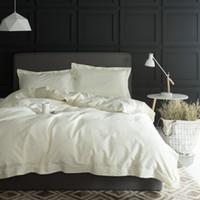 Wholesale grey silk bedding sets for sale - Group buy 1000TC Egypt cotton White Grey Bedding set KING QUEEN SIZE tribute silk Bed set Cotton bedsheet bed linen linge de lit