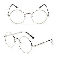 ingrosso occhiali rotondi coreani-2019 Moda versione coreana del telaio rotondo retrò lega unisex occhiali piatti tondi miopia occhiali decorativi telaio rotondo